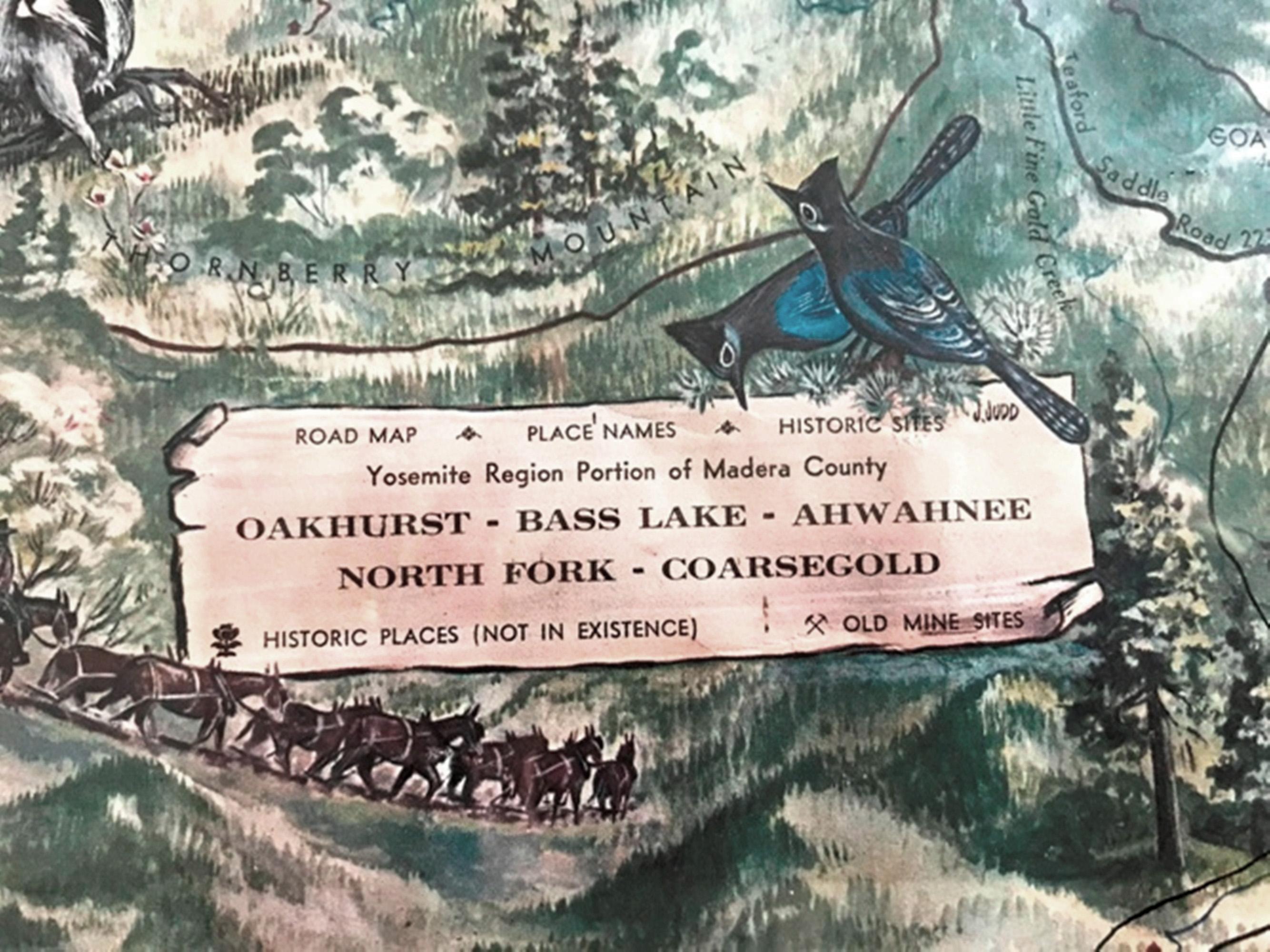 1967 illustrated Oakhurst Area map detail